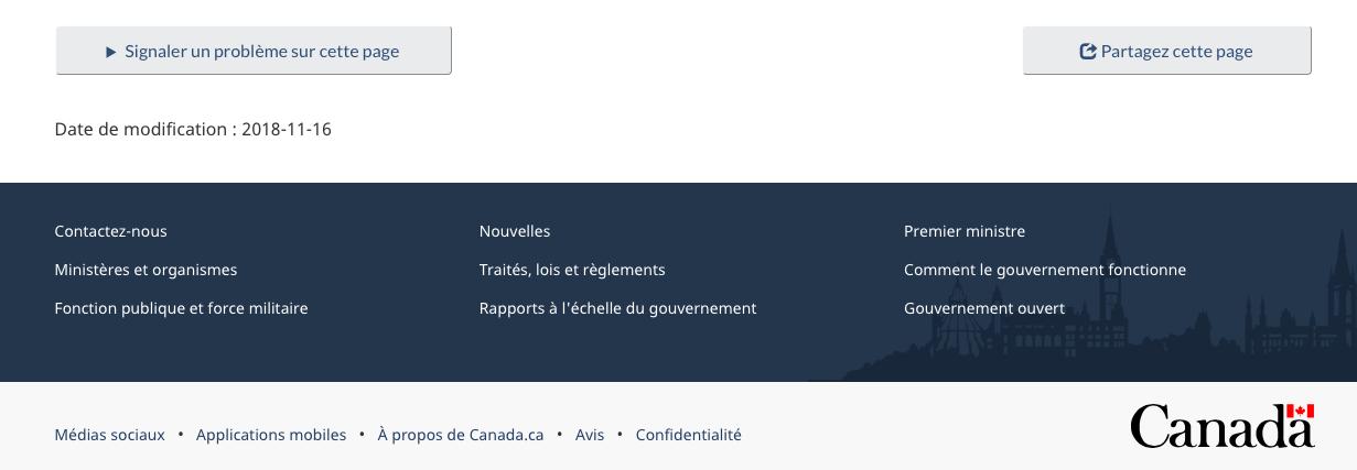 Éléments du pied de page de Canada.ca. Voir le tableau pour les détails.